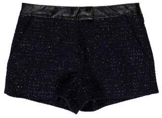Karl Lagerfeld Leather-Trimmed Tweed Shorts