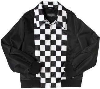DSQUARED2 Checkered Nylon Bomber Jacket