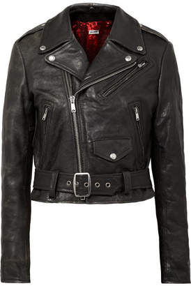 RE/DONE Reconstructed Moto Racer Distressed Leather Biker Jacket - Black