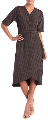Spense Lurex Stripe Dolman Sleeve Wrap Dress