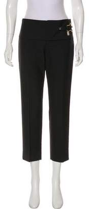 Balenciaga Mid-Rise Leather-Trimmed Pants