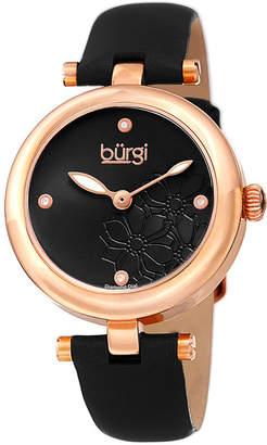 Burgi Womens Black Strap Watch-B-197bkr