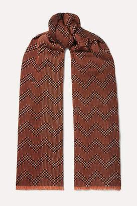 Missoni Crochet-knit Wool-blend Scarf - Brick