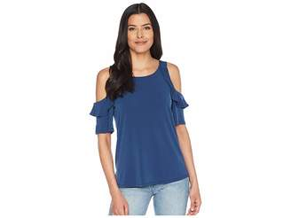 CeCe Cold Shoulder Ruffled Knit Top Women's Clothing