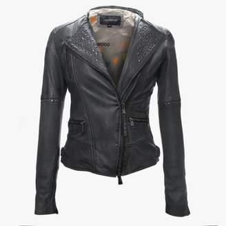 Oakwood Alix Grey Leather Studded Biker Jacket