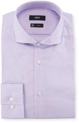 BOSS Jason Slim Fit Gingham Cotton-Blend Dress Shirt