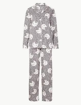 Marks and Spencer Fleece Cat Print Long Sleeve Pyjama Set