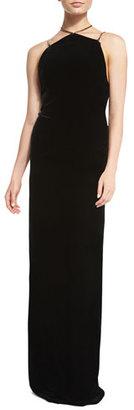 Ralph Lauren Collection Winsor Velvet Column Gown w/Metallic Hardware, Black $3,290 thestylecure.com