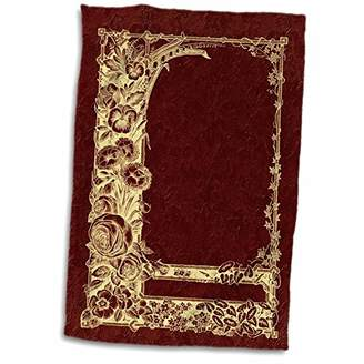 3D Rose Yellow Floral Trellis Design in Negative on a Burgundy Damask Background TWL_54081_1 Towel