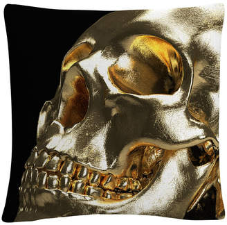 "Trademark Global Modern 3D Gold Skull 16x16"" Decorative Throw Pillow by Abc"
