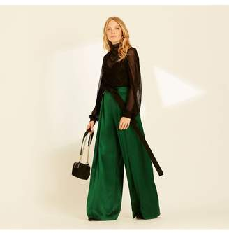 Amanda Wakeley Emerald Pleated Wide Leg Trousers