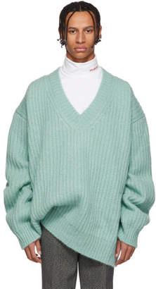 Calvin Klein Blue Oversize V-Neck Sweater