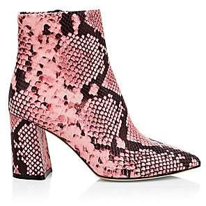 Alice + Olivia Women's Delanie Snakeskin Print Leather Ankle Boots