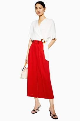 Topshop Womens Cropped Wide Leg Trousers - Red