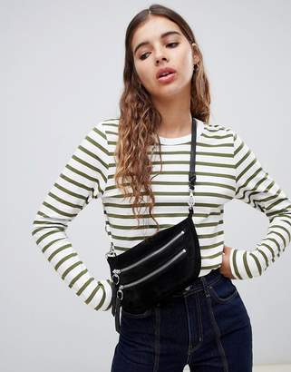 Weekday long sleeve stripe top in Khaki and White