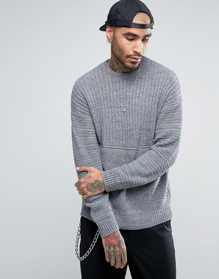 ASOS Ultimate Textured Sweater In Gray