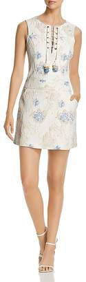 Badgley Mischka Floral Jacquard Lace-Up Shift Dress