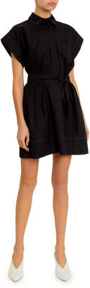 Givenchy Short-Sleeve Stitched Cotton Shirtdress