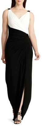 Women's Lauren Ralph Lauren Colorblock Jersey Faux Wrap Column Gown $184 thestylecure.com