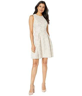 Vince Camuto Fused Lace Fit and Flare Dress