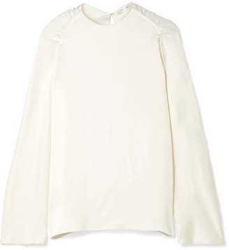 The Row Terha Ruched Silk-satin Blouse - Ivory