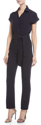 Carolina Ritzler Crisscross Open-Back Short-Sleeve Straight-Leg Crepe Jumpsuit