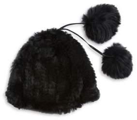 Adrienne Landau Rabbit and Fox Fur Hat
