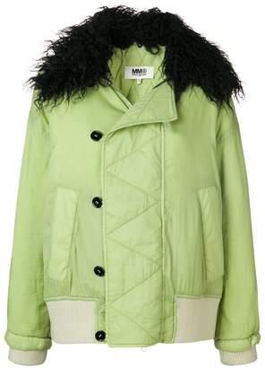 MM6 MAISON MARGIELA faux fur collar jacket