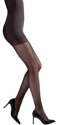 Natori Bristles Lace Sheer Floral-Pattern Control-Top Tights