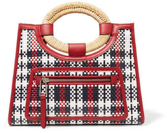 Fendi Runaway Small Raffia-trimmed Woven Leather Tote - Red