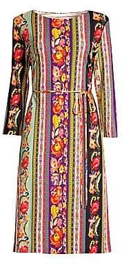 Etro Women's Jersey Ribbon Floral Belted Dress
