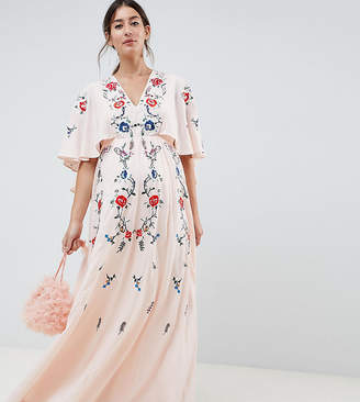 Asos DESIGN Maternity embroidered maxi dress with flutter sleeve