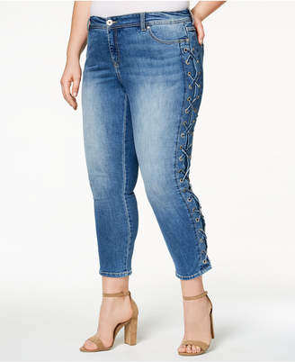 INC International Concepts I.n.c. Plus Size Lace-Up Skinny Jeans, Created for Macy's