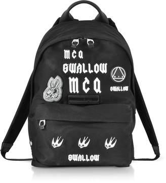 McQ Sponsorship Black Nylon Men's Backpack w/ Badges