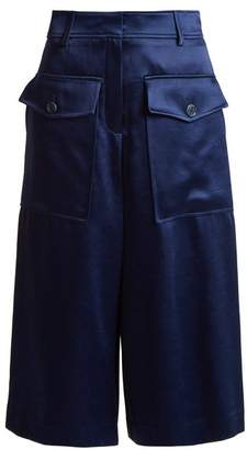 Sloane Sies Marjan Wide Leg Cropped Satin Trousers - Womens - Navy