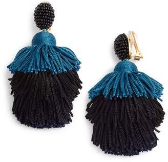 Oscar de la Renta Tiered Tassel Drop Earrings