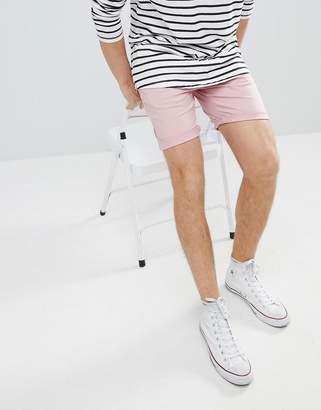 Asos Design DESIGN Slim Chino Shorts In Pastel Pink