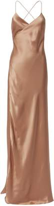 Michelle Mason Terracotta Wrap Gown