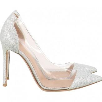 Gianvito Rossi Plexi Silver Glitter Heels