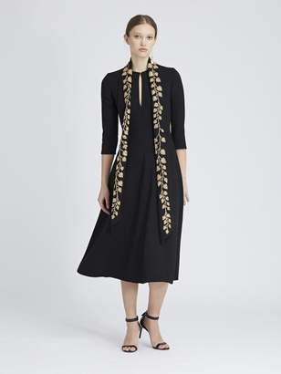 Oscar de la Renta Gold Leaf-Embroidered Stretch-Wool Crepe Dress