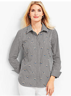 Talbots Gingham Embellished Shirt