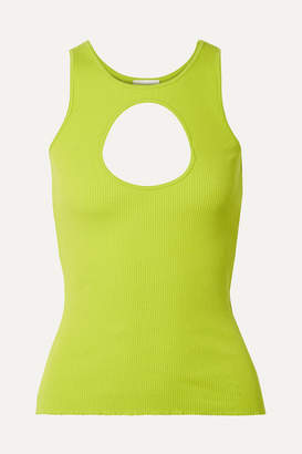 Vetements Neon Cutout Ribbed Stretch-cotton Tank - Green