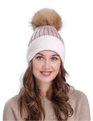 af634d7c951ca Best Nest Wellness Bestgift Women s Contrast Color Warm Pom Pom Slouchy Knit  Hat