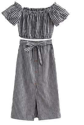 Goodnight Macaroon 'Devia' Striped Off The Shoulder Midi Skirt Two Piece Set