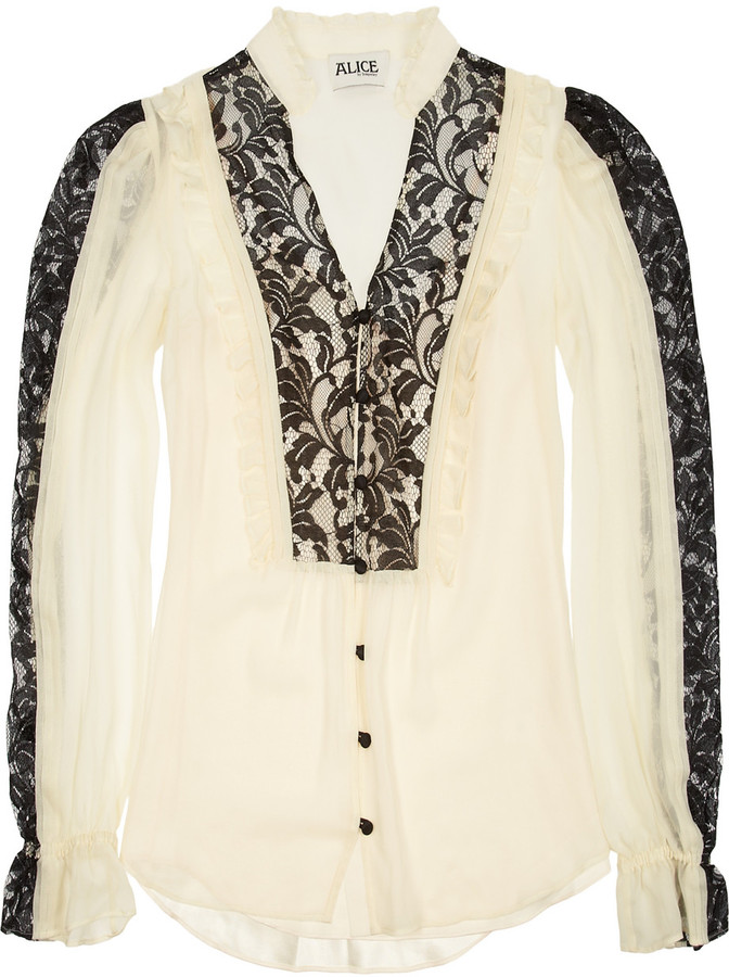 ALICE by Temperley Vanita lace and chiffon blouse