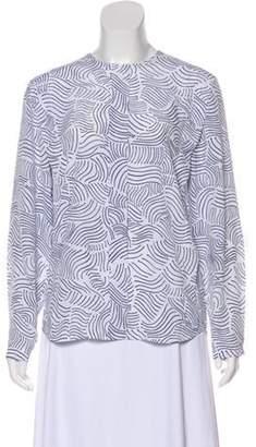 Christian Dior Printed Long Sleeve Blouse White Printed Long Sleeve Blouse