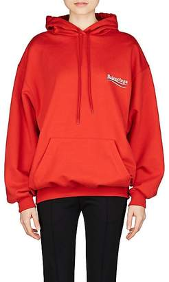 Balenciaga Women's Logo Cotton Terry Hoodie - Red