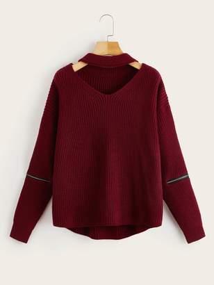 Shein Zipper Detail Sleeve V Cut Choker Neck Sweater
