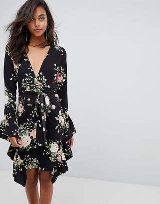 PrettyLittleThing Floral Frill Detail Wrap Dress