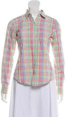 Theory Gingham Button-Up Top